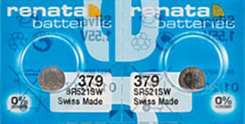 2 x Renata 379 Watch Batteries, 0% MERCURY Equivalent c, Swiss Made