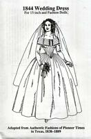 1844 Wedding Dress For 15 Fashion Doll Gene Alex