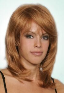 Details About Medium Length Straight Hair Slightly Wavy Face Framing Bangs Wig Kendall Maise