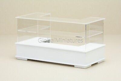 Dollhouse Miniatures Curve Acrylic White Bakery Sliding Door Showcase with Tray
