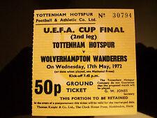 1972 UEFA Cup final ticket 2nd legTottenham Hotspur v Wolves reproduction.