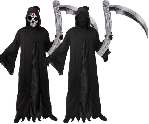 SUGAR SKULL Adulti GRIM REAPER Halloween Costume Orrore mantello di morte