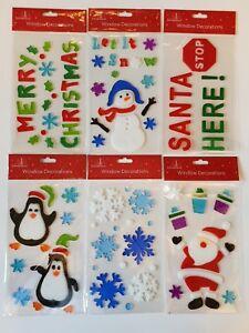Buon-Natale-Gel-si-aggrappa-Finestra-Adesivi-Decorazione-Babbo-Natale-Pupazzo-di-Neve-Alberi
