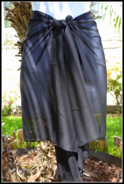 SOLID BLACK SHORT HALF SIZE SARONG PAREO SHAWL Beach Bikini Cover-up Wrap Skirt