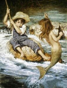 BOY-FISHING-CATCHES-MERMAID-GIRL-CANVAS-FANTASY-CHILDREN-CHILD-Art-PRINT
