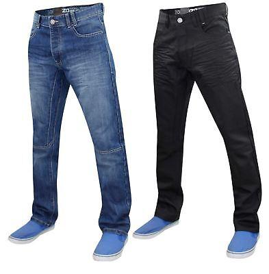 Da Uomo Regular Fit Jeans in denim pantaloni Pantaloni Con Vita Cintura Gratis Tutte le Taglie 28-42
