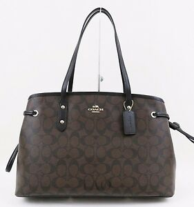 Image is loading Coach-F57842-Signature-PVC-Drawstring-Carryall-Tote-Brown- dc73326058ab3