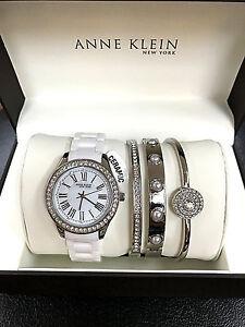 Anne Klein 12 2257svst Women S Ceramic Watch And Bracelet Set With