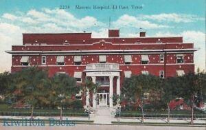 Postcard Masonic Hospital El Paso Tx Ebay