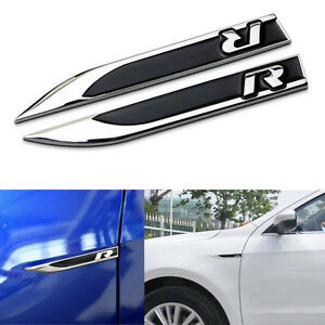 Image is loading Metal-R-Logo-Car-Side-Fender-Knife-Badge-  sc 1 st  eBay & Metal R Logo Car Side Fender Knife Badge Door Emblem Sticker For GTI ...