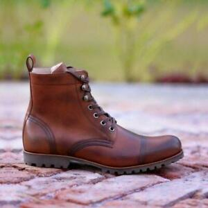 Men-039-s-Vintage-Handmade-Antique-Boots-Casual-Hiking-Real-Calf-Skin-Leather-Shoes