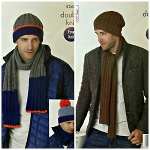 KNITTING-PATTERN-Mens-Easy-Knit-Rib-Beanie-Hat-Scarf-amp-Cowl-DK-King-Cole-5265