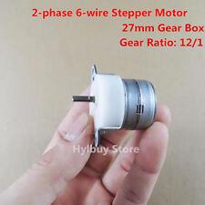 2-phase 6-lead-wire Micro Min Stepper Motor 27mm Metal Gear Box Gear Ratio 12:1