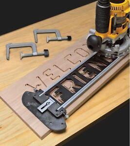 Custom engraved wooden sign making router jig kit w letter for Router templates for signs