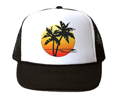 Bahamas Burgandy   Sunset Palm Tree  Snapback Mesh Trucker Hat Cap