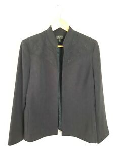 KASPER Deep Purple Embroidered Jacket Open Collarless Blazer Women's Size 10