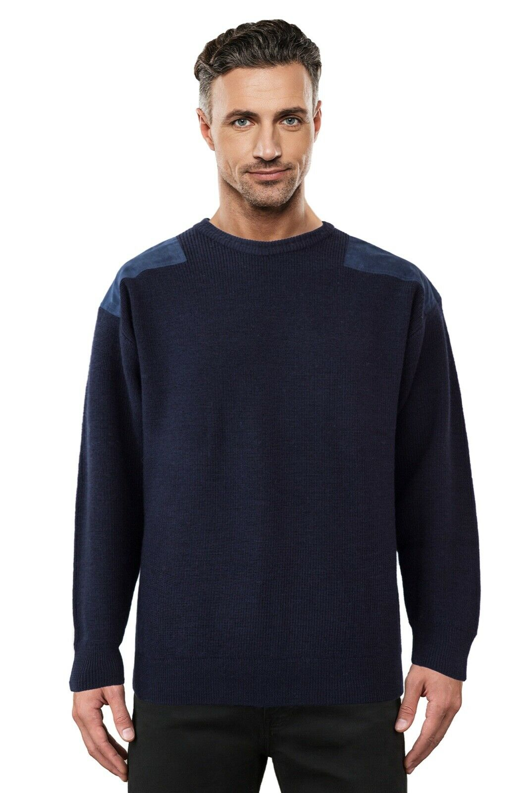 Navy Ansett Pure wolleFisherman Rib Jumper schweißer Knitwear With Elbow Patches