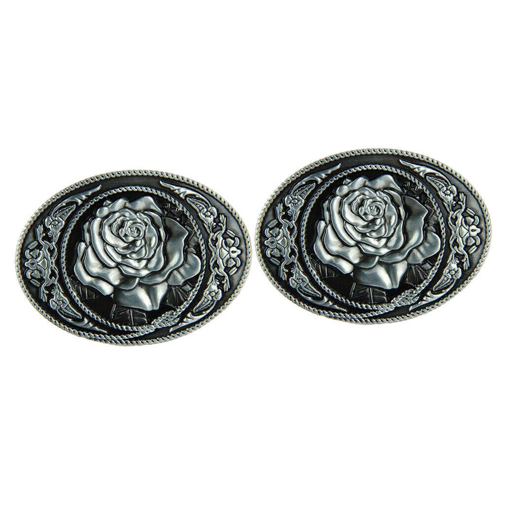 2x Vintage Rose Blumenmuster Hippie Western Cowboy Gürtelschnalle Männer
