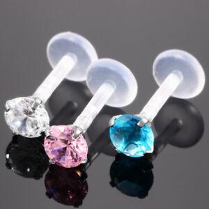 CZ-Gem-LIP-RING-LABRET-MONROE-Earring-Stud-Bioflex-Piercing-Bar-16G-5-16