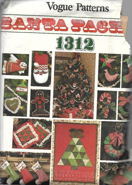 Vogue Patterns SANTA PACK #1312 Tree Ornaments Stockings Tree Skirt & More