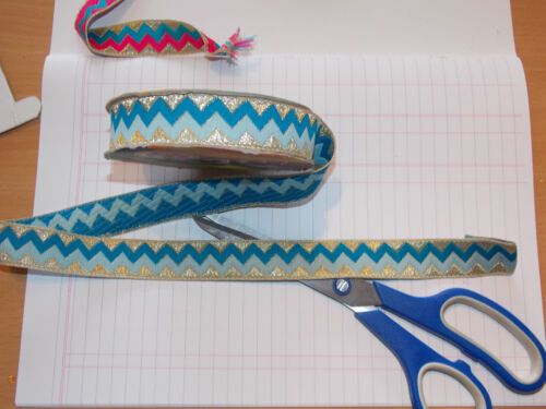 22mm gold blue turquoise embroidered ribbon applique motif trim Indian