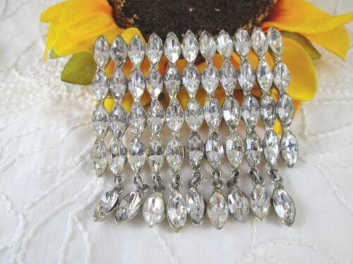 Vintage Signed STARET Sparkling Clear Navette Rhin