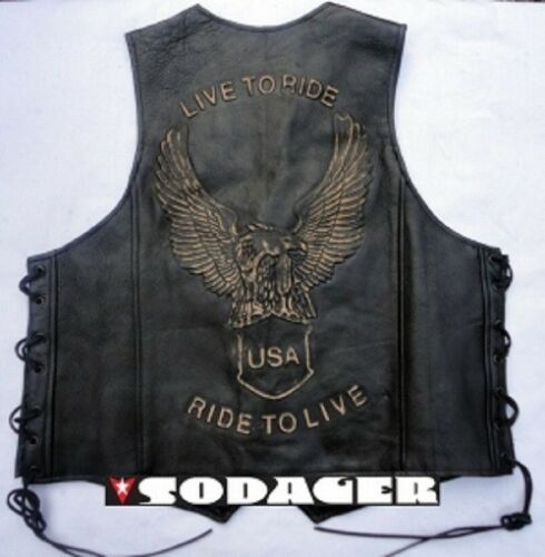 MOTO /& LOISIRS bovins cuir Live To Ride Gilet Harley Choppers biker blouson
