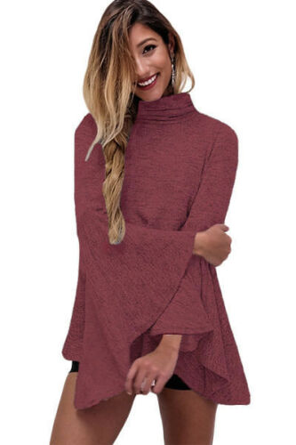 "/""  Ladies Burgundy or Coffee Flared Bell Sleeve Knit Blouse WOMEN /""M 8-10"