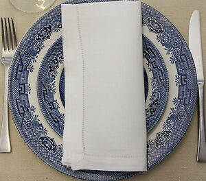 6x-100-Linen-Dinner-Napkins-20-034-x20-034-50x50cm-HEMSTITCH-TABLE-LINEN