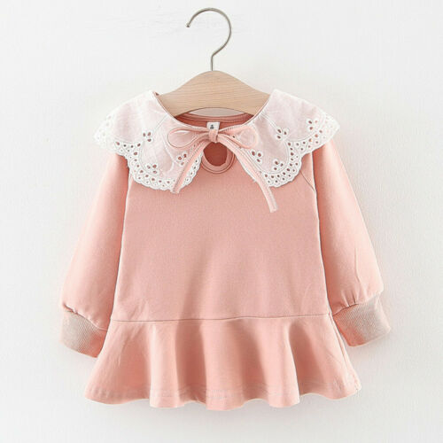 Toddler Infant  Baby Kids Girls Ruched Ruffles Lace Solid Casual Dresses Clothes