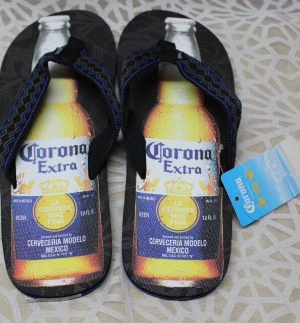 3cd703d684b4 Corona Extra Bottle Mens Flip Flop Sandals Black XL 12 - 13 for sale ...