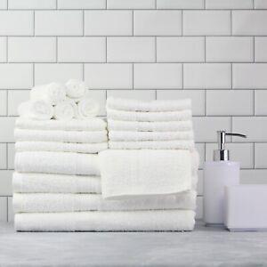 Cotton Bath Towels 18-Piece Towel Set Thick & Plush Hand Bath Towel WHITE