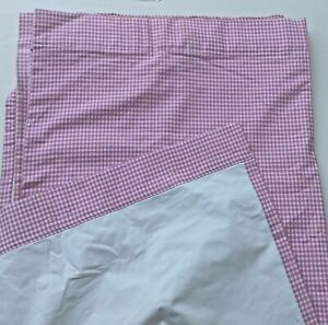 """POTTERY BARN KIDS Pink White Lined Plaid Checkered Panel Curtain Drape 44/"""" x 96/"""""""