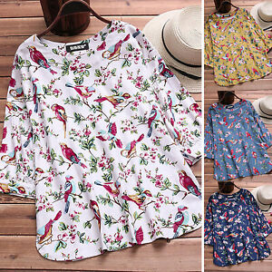 Damen Blumen Bluse Langarm Longshirt Longtop Shirts Oberteil Übergröße Sommer