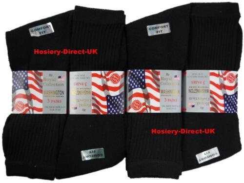 6 Homme Noir Coton Riche Casual Sport Chaussettes De Travail UK 6-11