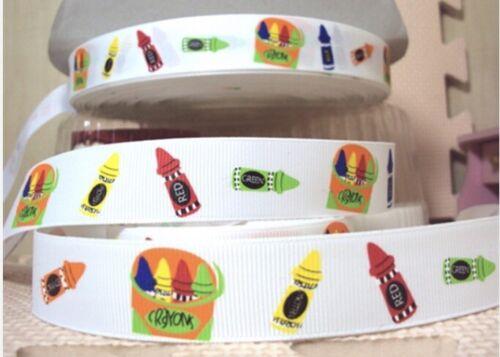 By The Yard 7//8 Inch Printed School Crayons Grosgrain Ribbon Lisa