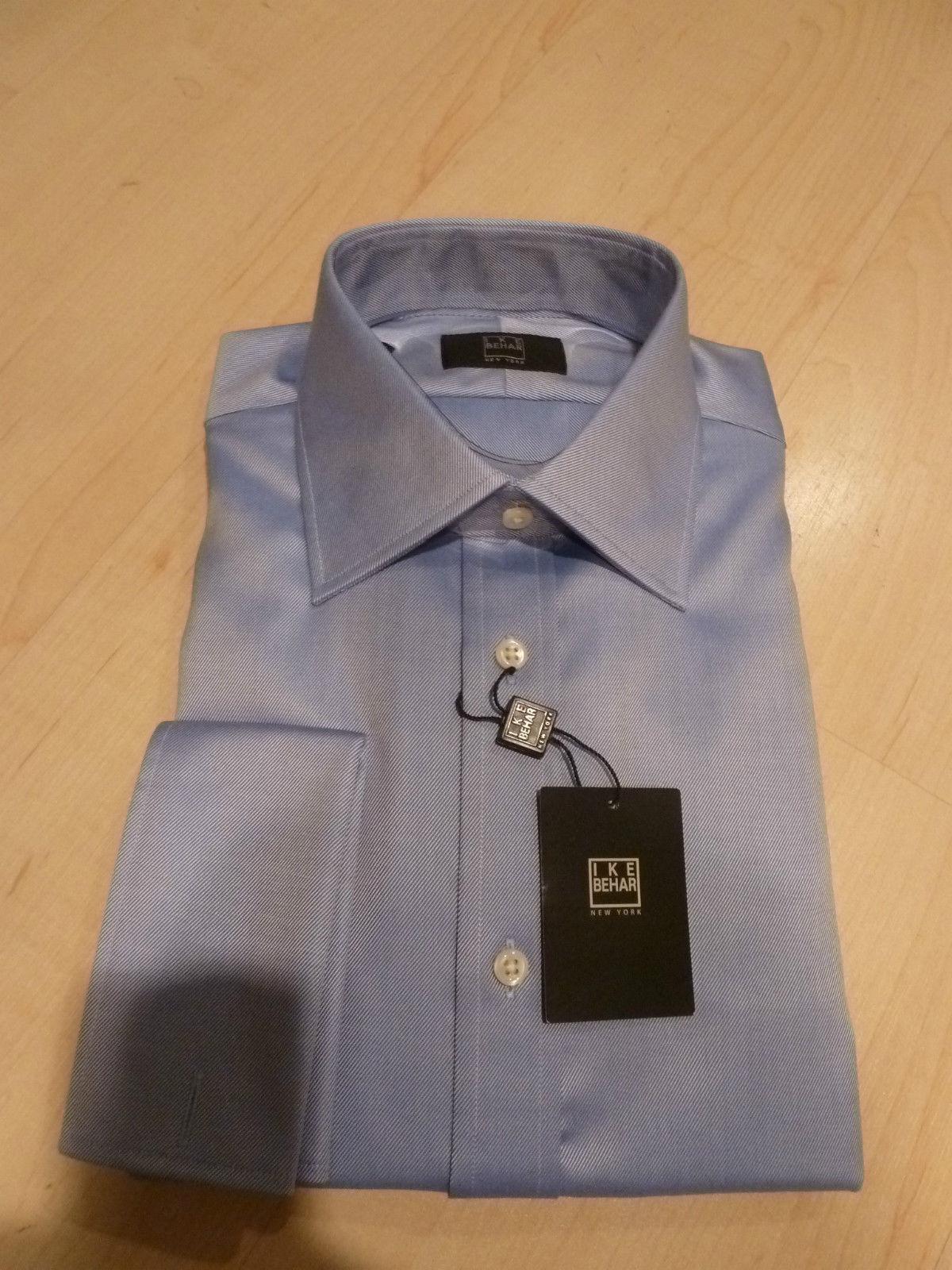 NEW 200+ IKE BEHAR  Herren Dress SHIRT 15 34 Solid Blau 100% Cotton FC