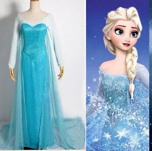 Halloween-Women-lady-Frozen-Princess-Elsa-Fancy-Dress-Adult-Costumes-Gown-Dress