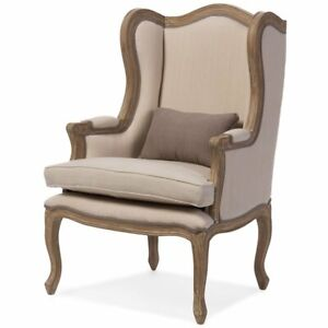 Peachy Details About Baxton Studio Oreille Accent Chair In Dark Beige And Brown Pabps2019 Chair Design Images Pabps2019Com