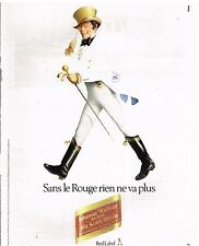 Publicité Advertising 1982 Scotch Whisky Johnnie Walker Red Label