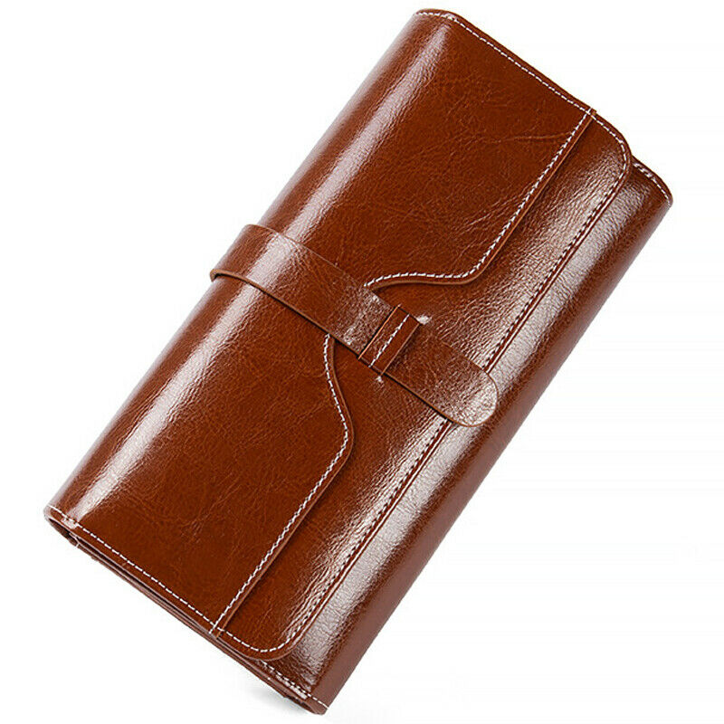 Genuine Leather Women's Long Clutch Trifold Wallet RFID Blocking ID Card Holder