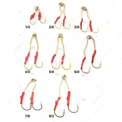 Fishing 20 Gold 4x Assist Hooks #1//0 #2//0 #3//0 #4//0 #5//0 #6//0 #7//0 #8//0 Tandem