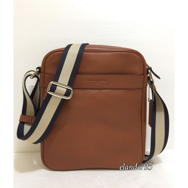New Coach F71723 Men S Flight Bag Smooth Leather Crossbody Shoulder Saddle