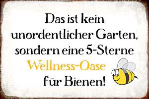 Wellness-Oase-Bienen-Garten-Blechschild-Schild-gewoelbt-Tin-Sign-20-x-30-cm-R0974
