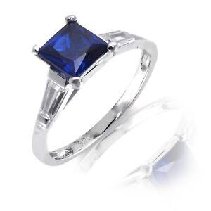 White-Gold-Finish-Princess-Cut-Blue-Sapphire-Engagement-Wedding-Silver-Ring