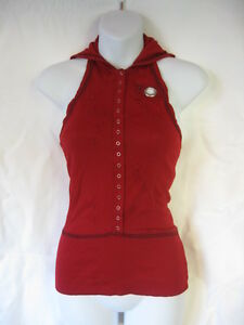 Lip-Service-Rare-Frankenstitched-Dye-for-You-Red-Hooded-Snap-Tank-Top-L