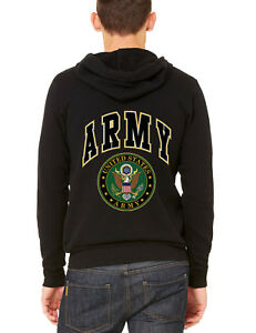 US Army Strong Black Hoodie Sweatshirt USA Military Force workout gym fitness