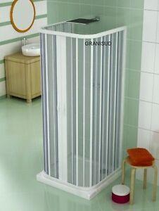 Cabine de douche pvc trois parois ouverture centrale 2 portes pliantes h 185 cm ebay - Cabine doccia a soffietto ...