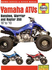 Haynes-Manual-2314-Yamaha-Banshee-Warrior-amp-Raptor-ATVs-Quads-service-repair