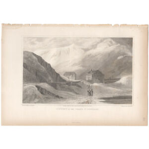 Swiss Scenery antique 1820 engraving landscape, Pl 12 Convent Grand St. Bernard